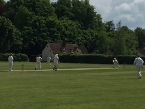 David Clark smacks to the leg side against Knebworth Blues on Sunday at the Field of Dreams