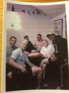 Retro Polaroid: Callum Blair, Justin Powick, Matt Burleigh & Max Anderson celebrate Preston's Beds league win back at the Lion with Jo, Shannon & pizza