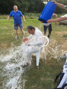 The victorious skipper gets a soaking