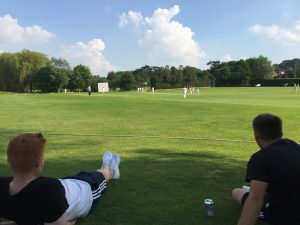 Casey Walker and Callum Blair watch the last few overs at Northchurch