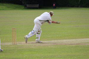 Richard Gatehouse works one to leg against Hertingfordbury at Whitwell