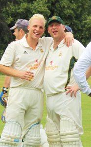 Legends: Justin & Adam Powick celebrate at Ickwell