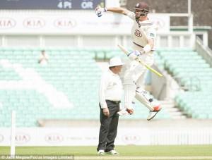 KP celebrates smashing Sam Crea around the Oval nets last Friday.