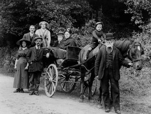 Lilley and supporters arriving for the end of season fixture at Preston in 1894