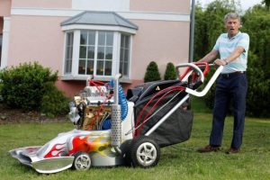 Andy Riant off to mow the meadow